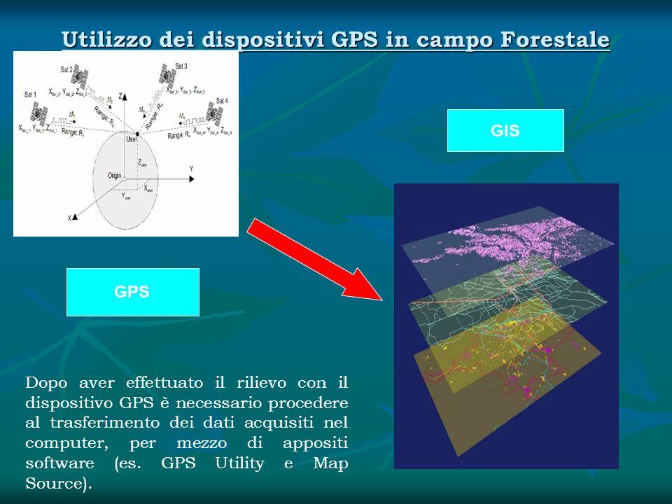 Utilizzo dei dispositivi GPS in campo Forestale Dopo aver effettuato il rilievo con il dispositivo GPS è necessario procedere al trasferimento dei dat