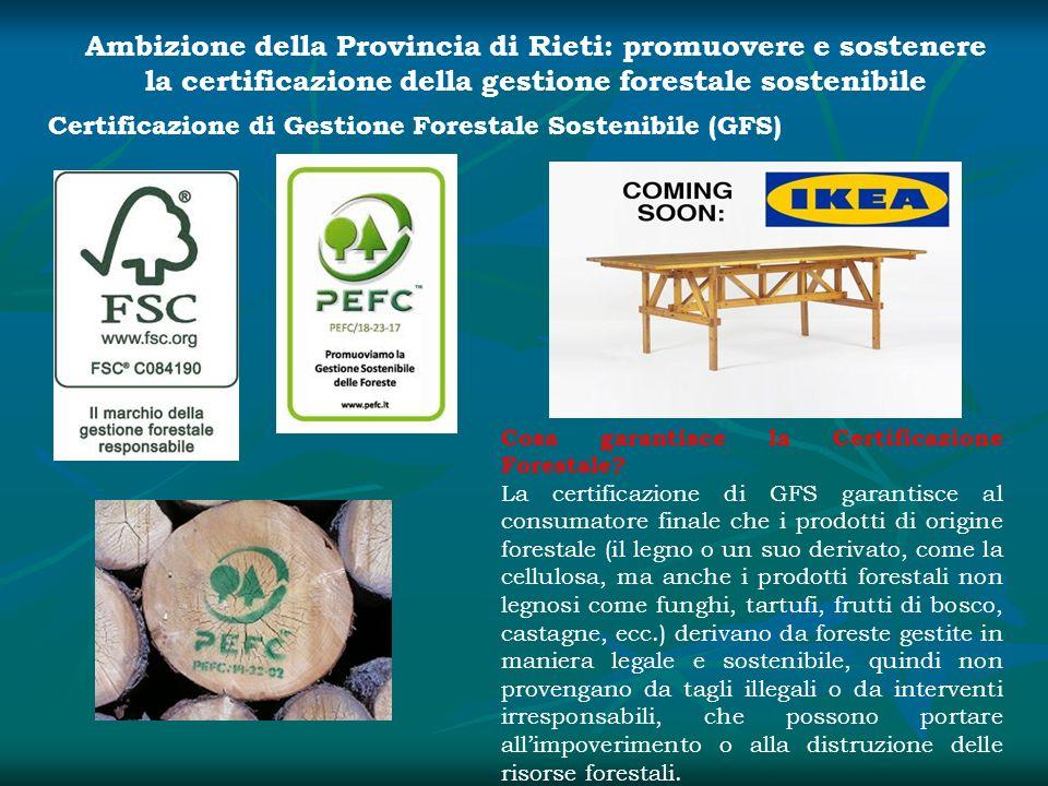 Ambizione della Provincia di Rieti: promuovere e sostenere la certificazione della gestione forestale sostenibile Certificazione di Gestione Forestale