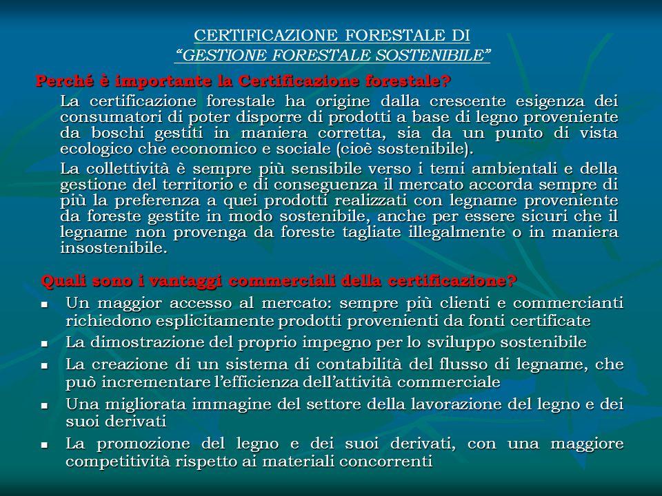 CERTIFICAZIONE FORESTALE DI GESTIONE FORESTALE SOSTENIBILE Perché è importante la Certificazione forestale? La certificazione forestale ha origine dal