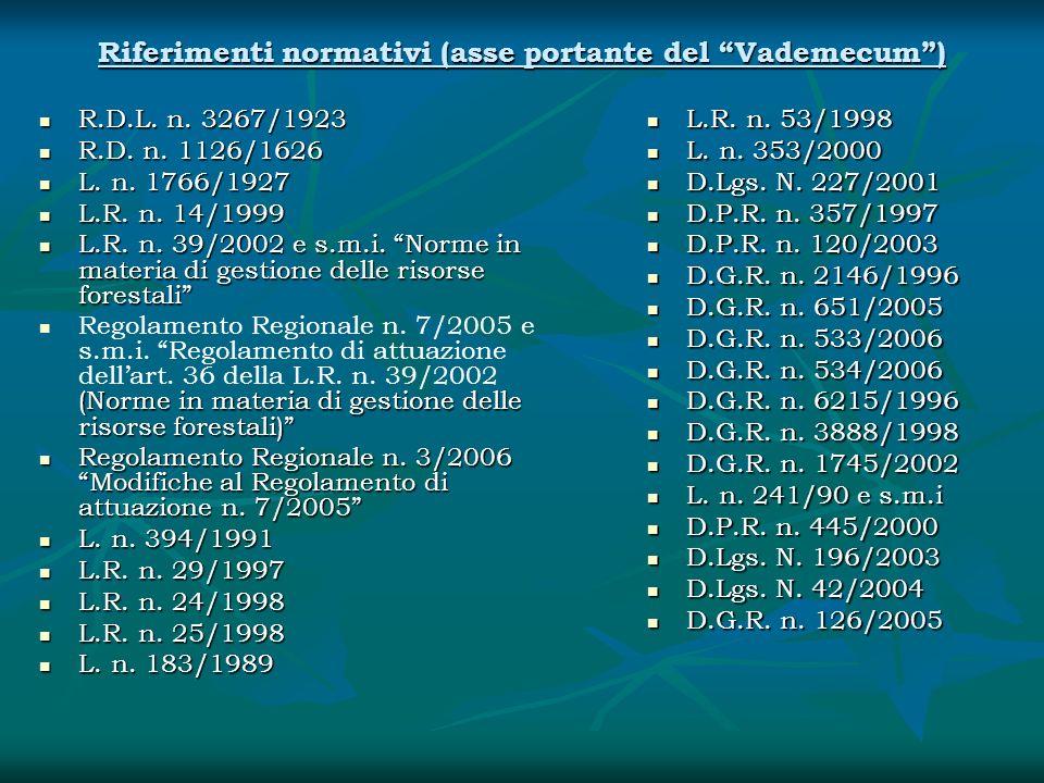 Riferimenti normativi (asse portante del Vademecum) R.D.L. n. 3267/1923 R.D.L. n. 3267/1923 R.D. n. 1126/1626 R.D. n. 1126/1626 L. n. 1766/1927 L. n.