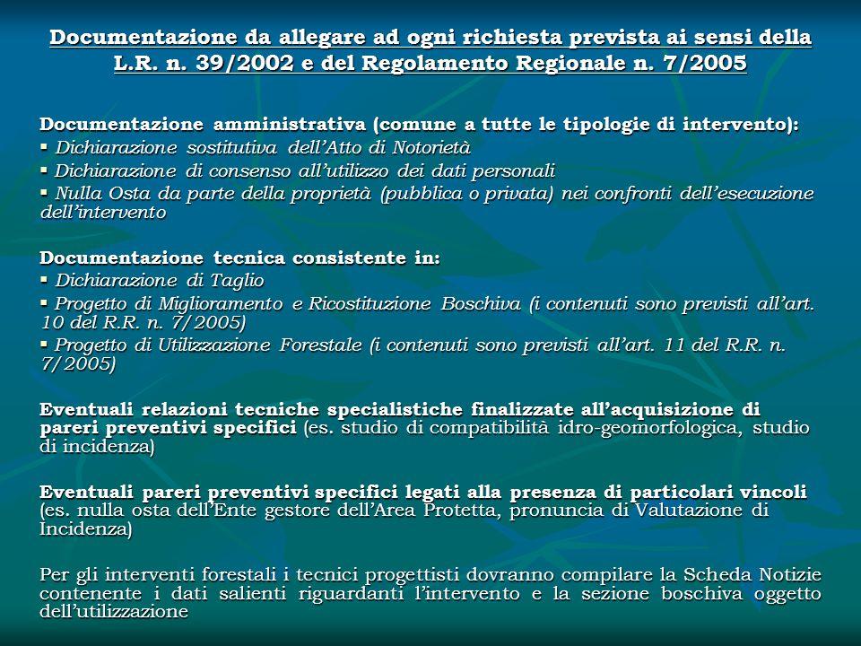 Documentazione da allegare ad ogni richiesta prevista ai sensi della L.R. n. 39/2002 e del Regolamento Regionale n. 7/2005 Documentazione amministrati