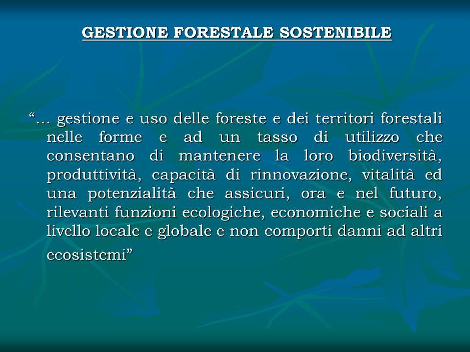 GESTIONE FORESTALE SOSTENIBILE … gestione e uso delle foreste e dei territori forestali nelle forme e ad un tasso di utilizzo che consentano di manten