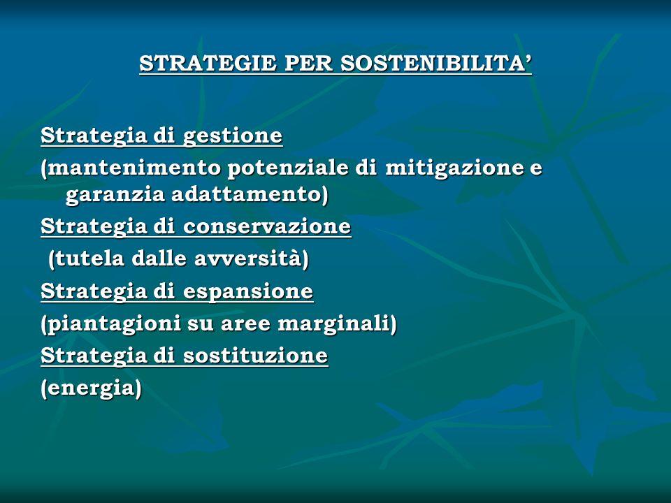 STRATEGIE PER SOSTENIBILITA Strategia di gestione (mantenimento potenziale di mitigazione e garanzia adattamento) Strategia di conservazione (tutela d