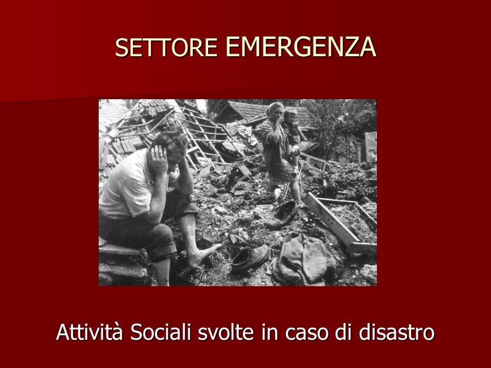 SETTORE EMERGENZA Attività Sociali svolte in caso di disastro