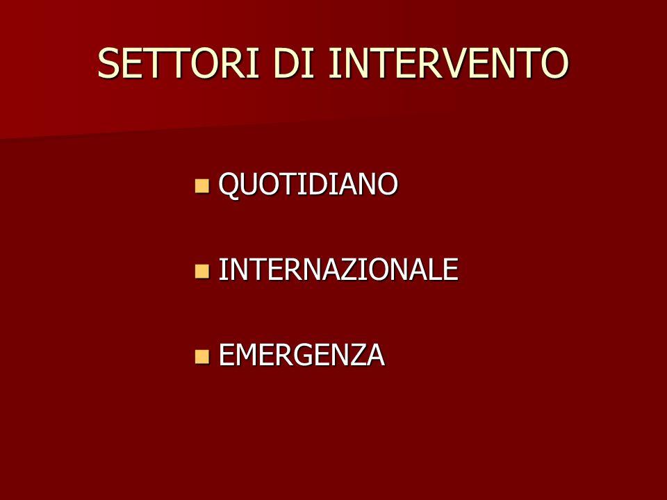 SETTORI DI INTERVENTO QUOTIDIANO QUOTIDIANO INTERNAZIONALE INTERNAZIONALE EMERGENZA EMERGENZA