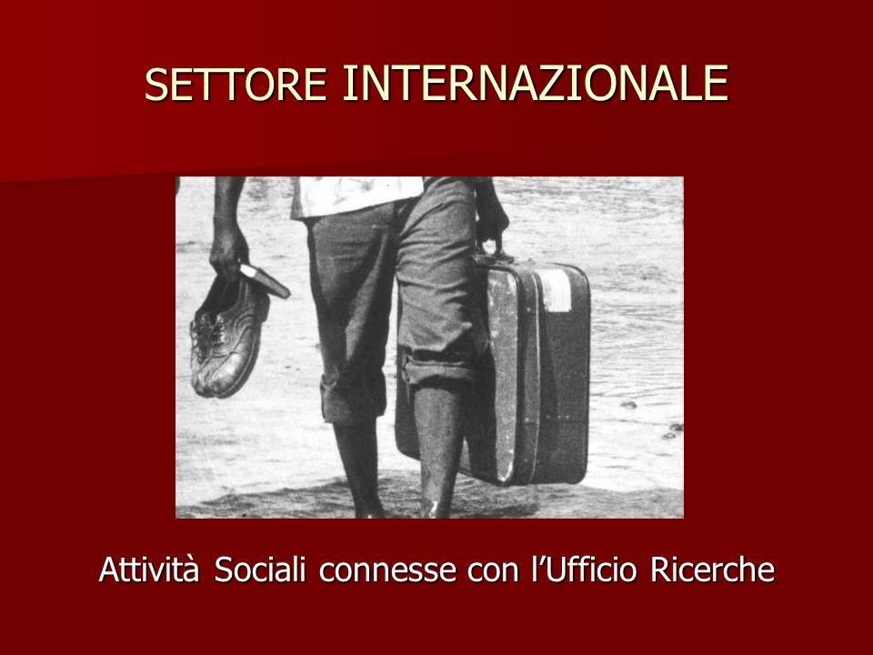SETTORE INTERNAZIONALE Attività Sociali connesse con lUfficio Ricerche