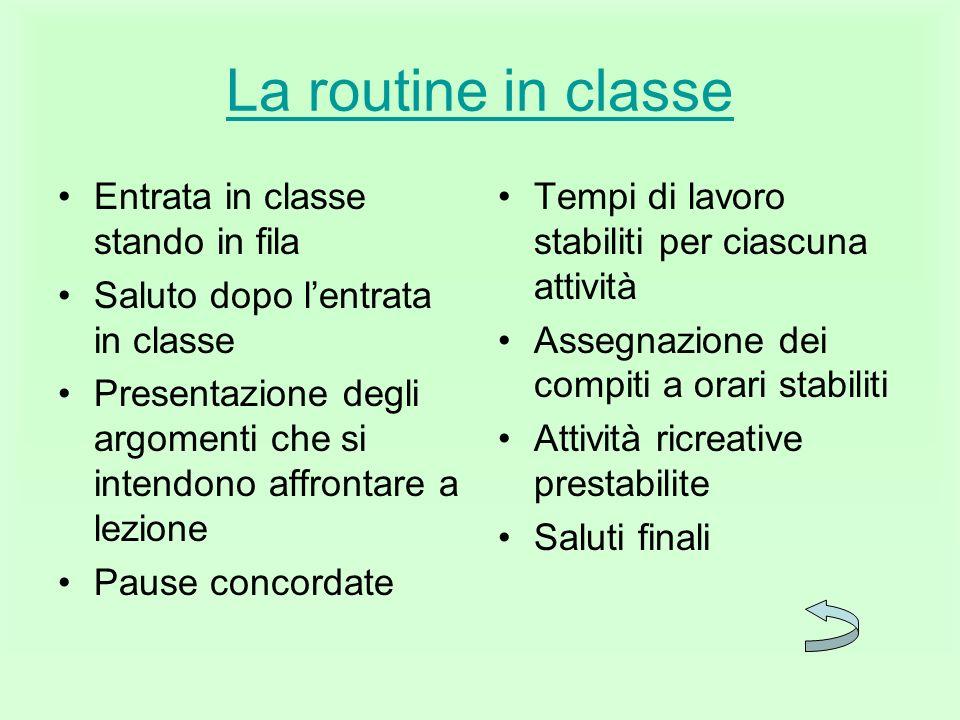 La routine in classe Entrata in classe stando in fila Saluto dopo lentrata in classe Presentazione degli argomenti che si intendono affrontare a lezio