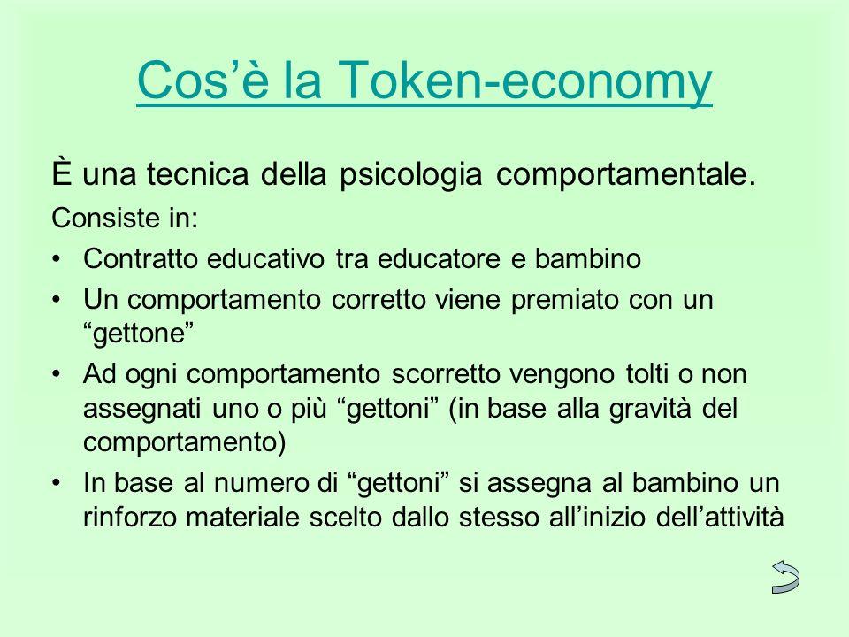 Cosè la Token-economy È una tecnica della psicologia comportamentale. Consiste in: Contratto educativo tra educatore e bambino Un comportamento corret