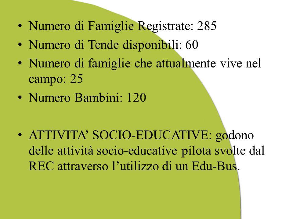 Numero di Famiglie Registrate: 285 Numero di Tende disponibili: 60 Numero di famiglie che attualmente vive nel campo: 25 Numero Bambini: 120 ATTIVITA SOCIO-EDUCATIVE: godono delle attività socio-educative pilota svolte dal REC attraverso lutilizzo di un Edu-Bus.