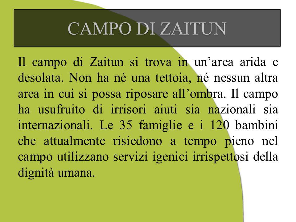 CAMPO DI ZAITUN Il campo di Zaitun si trova in unarea arida e desolata.