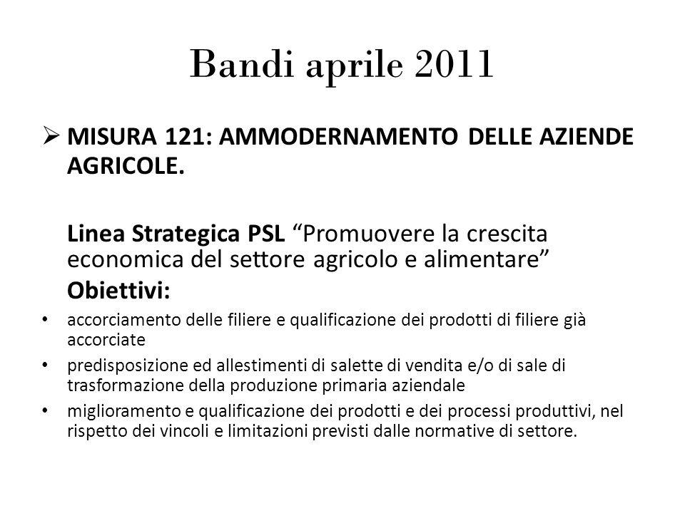 Bandi aprile 2011 MISURA 121: AMMODERNAMENTO DELLE AZIENDE AGRICOLE. Linea Strategica PSL Promuovere la crescita economica del settore agricolo e alim