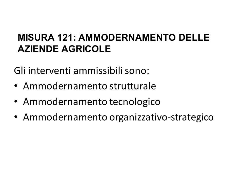 Gli interventi ammissibili sono: Ammodernamento strutturale Ammodernamento tecnologico Ammodernamento organizzativo-strategico MISURA 121: AMMODERNAMENTO DELLE AZIENDE AGRICOLE