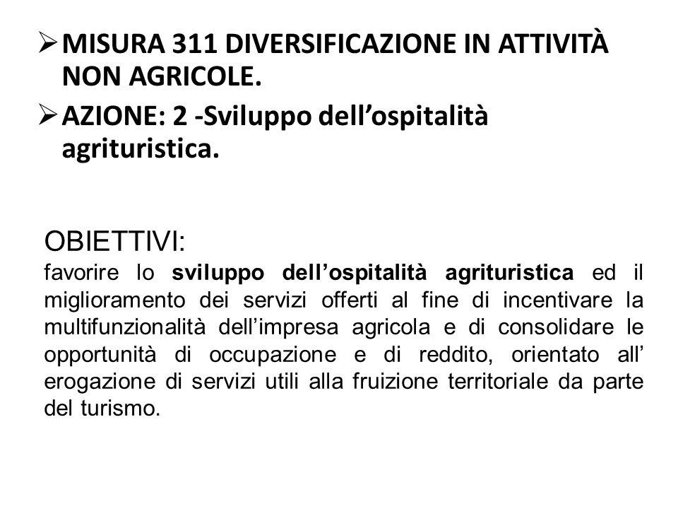 MISURA 311 DIVERSIFICAZIONE IN ATTIVITÀ NON AGRICOLE.