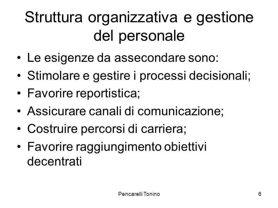 Pencarelli Tonino6 Struttura organizzativa e gestione del personale Le esigenze da assecondare sono: Stimolare e gestire i processi decisionali; Favorire reportistica; Assicurare canali di comunicazione; Costruire percorsi di carriera; Favorire raggiungimento obiettivi decentrati
