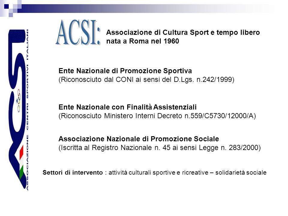 Associazione di Cultura Sport e tempo libero nata a Roma nel 1960 Ente Nazionale di Promozione Sportiva (Riconosciuto dal CONI ai sensi del D.Lgs.