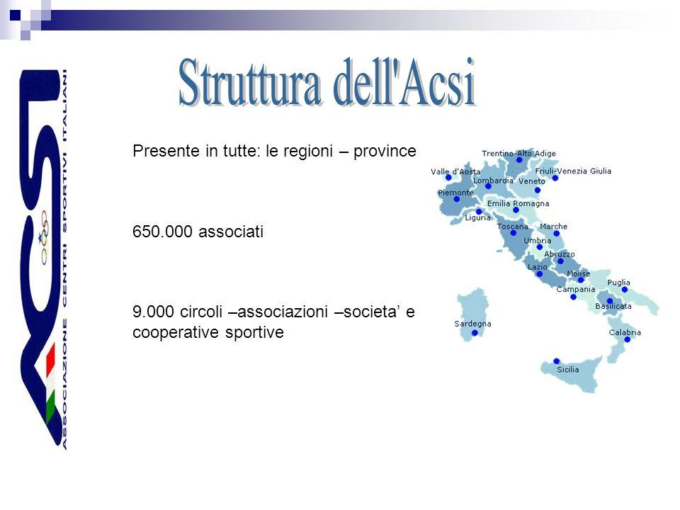 Presente in tutte: le regioni – province 650.000 associati 9.000 circoli –associazioni –societa e cooperative sportive