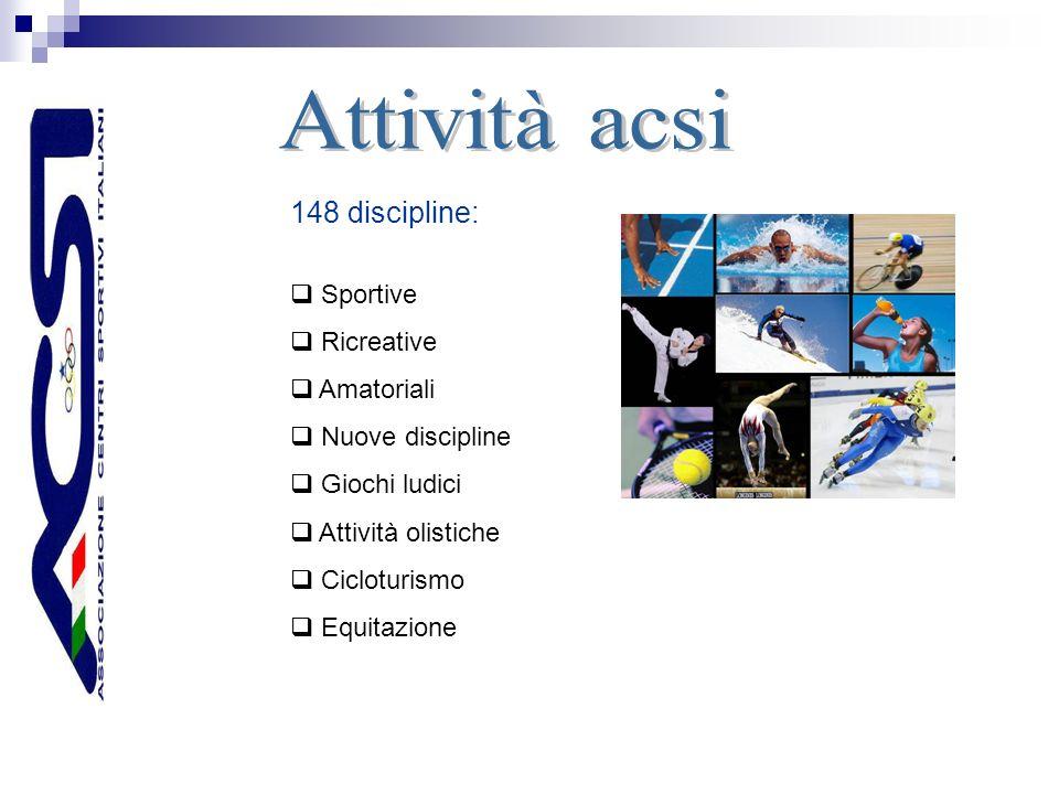 148 discipline: Sportive Ricreative Amatoriali Nuove discipline Giochi ludici Attività olistiche Cicloturismo Equitazione
