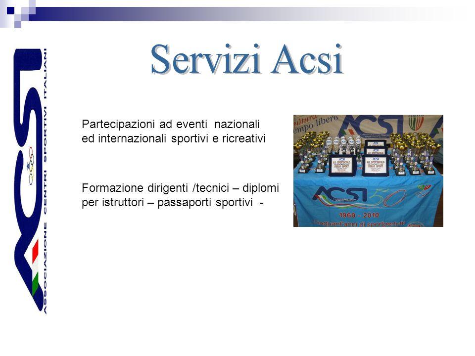 Partecipazioni ad eventi nazionali ed internazionali sportivi e ricreativi Formazione dirigenti /tecnici – diplomi per istruttori – passaporti sportivi -