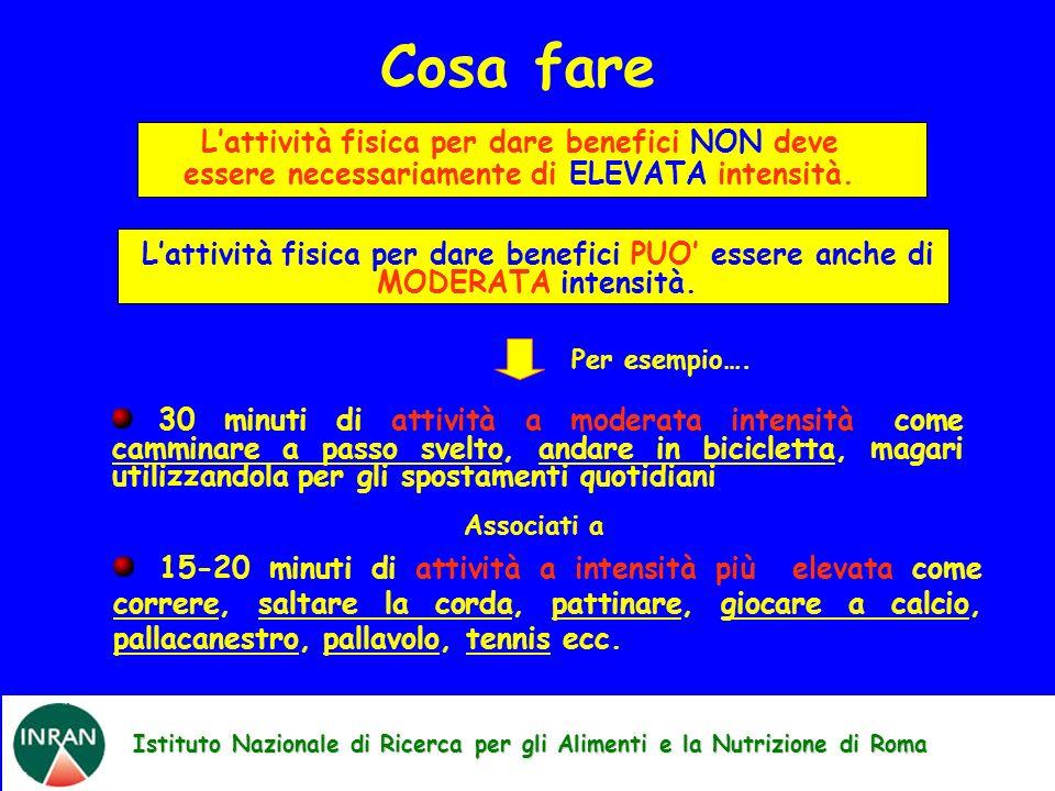 Istituto Nazionale di Ricerca per gli Alimenti e la Nutrizione di Roma Cosa fare Lattività fisica per dare benefici NON deve essere necessariamente di ELEVATA intensità.