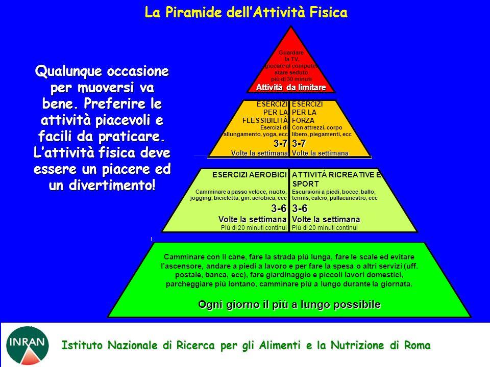 Istituto Nazionale di Ricerca per gli Alimenti e la Nutrizione di Roma La Piramide dellAttività Fisica Camminare con il cane, fare la strada più lunga