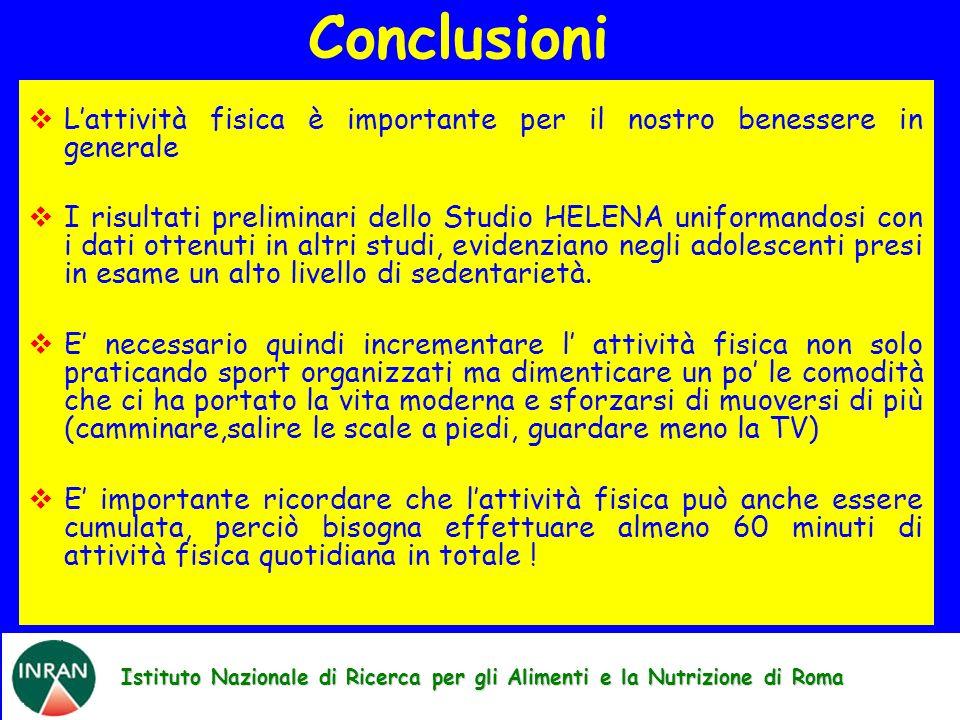 Istituto Nazionale di Ricerca per gli Alimenti e la Nutrizione di Roma Lattività fisica è importante per il nostro benessere in generale I risultati p