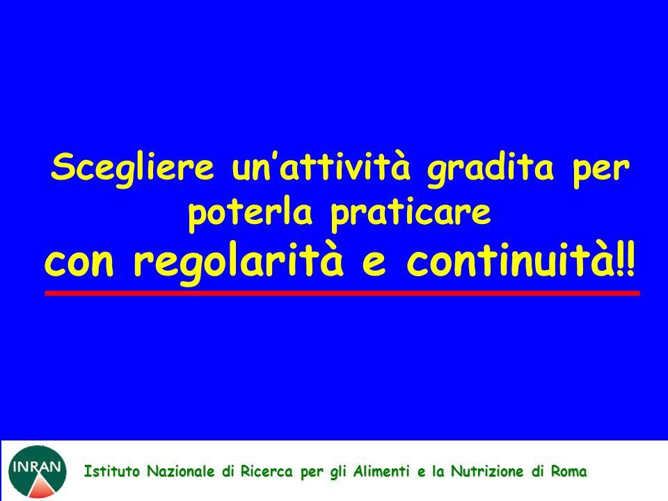Istituto Nazionale di Ricerca per gli Alimenti e la Nutrizione di Roma Scegliere unattività gradita per poterla praticare con regolarità e continuità!!