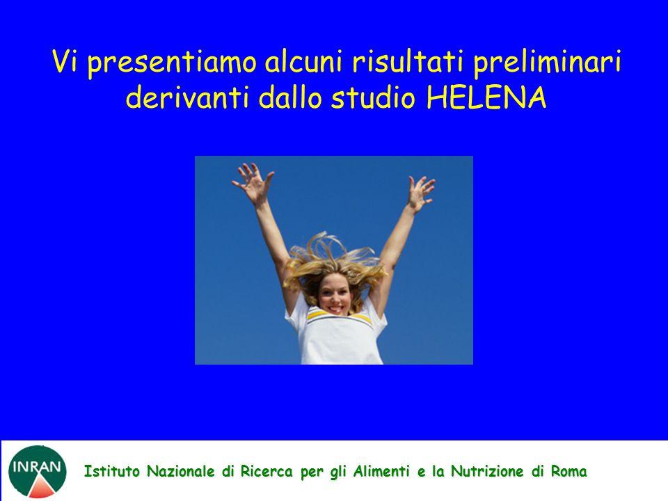Istituto Nazionale di Ricerca per gli Alimenti e la Nutrizione di Roma Vi presentiamo alcuni risultati preliminari derivanti dallo studio HELENA