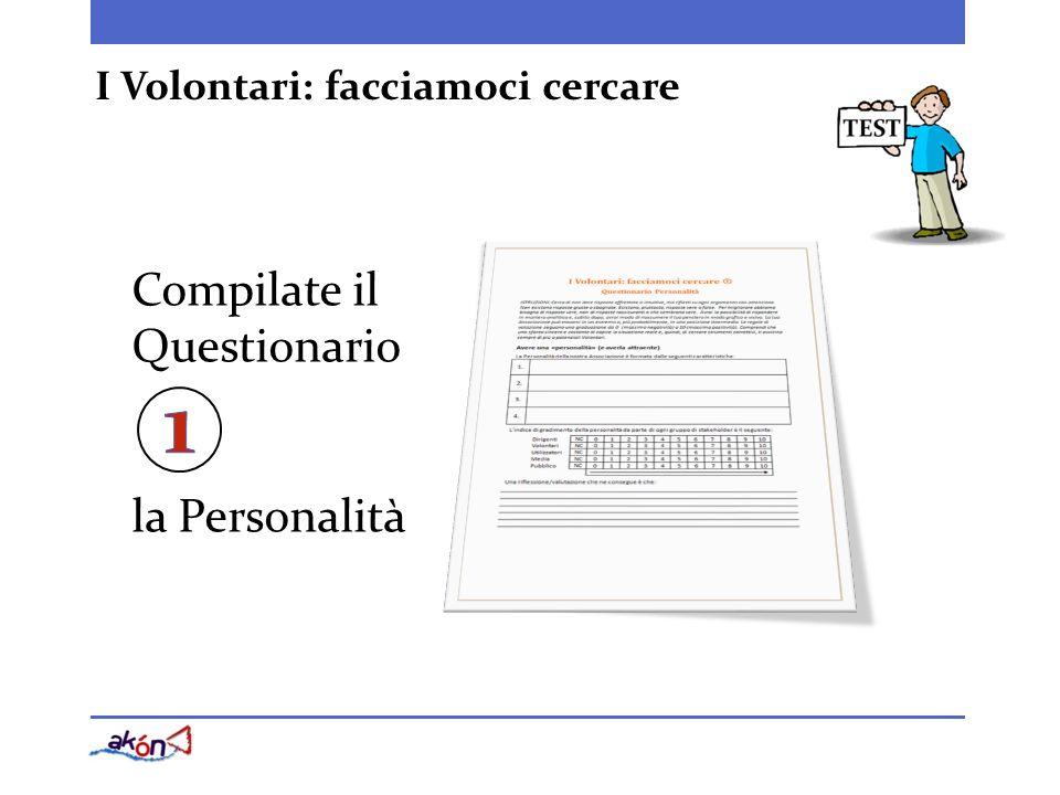Compilate il Questionario la Personalità I Volontari: facciamoci cercare