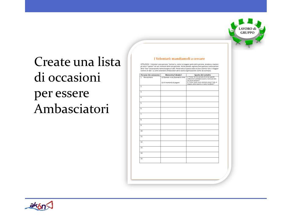 Create una lista di occasioni per essere Ambasciatori