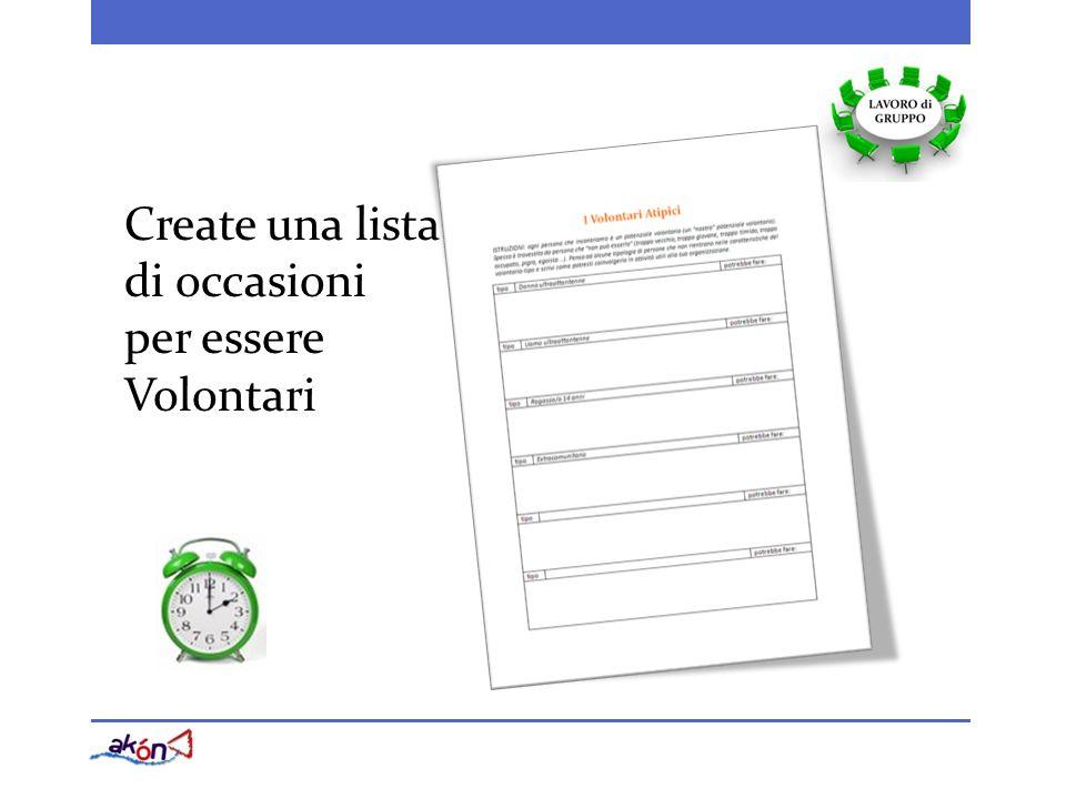 Create una lista di occasioni per essere Volontari