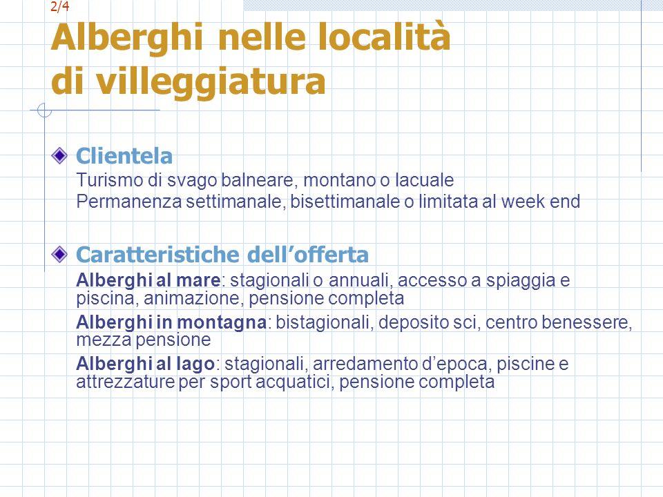 2/4 Alberghi nelle località di villeggiatura Clientela Turismo di svago balneare, montano o lacuale Permanenza settimanale, bisettimanale o limitata a