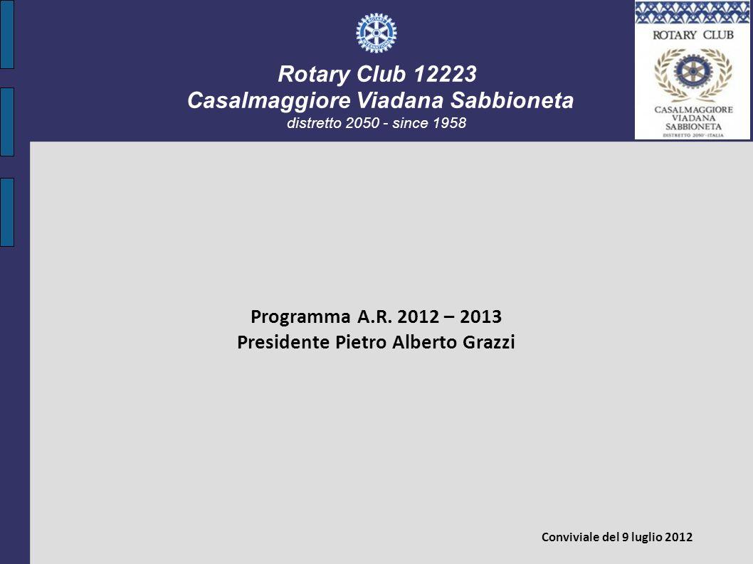 Rotary Club 12223 Casalmaggiore Viadana Sabbioneta distretto 2050 - since 1958 Programma A.R. 2012 – 2013 Presidente Pietro Alberto Grazzi Conviviale