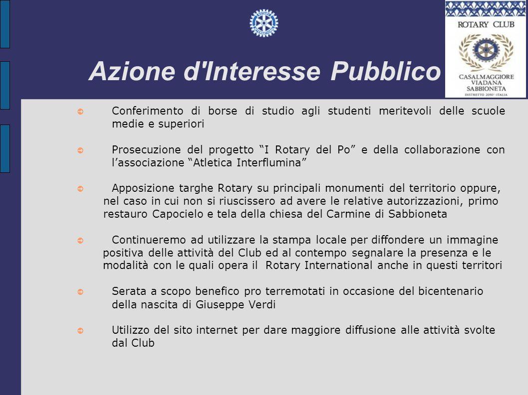 Azione d'Interesse Pubblico Conferimento di borse di studio agli studenti meritevoli delle scuole medie e superiori Prosecuzione del progetto I Rotary