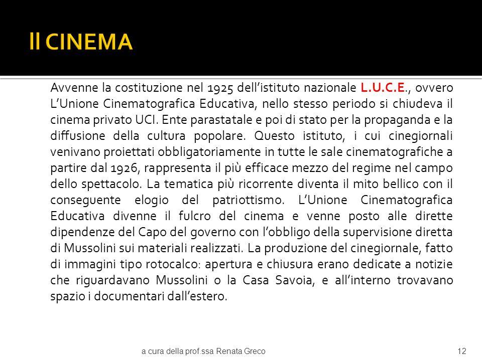 Negli anni 30 nascono gli studi di Cinecittà, il centro sperimentale di cinematografia, gli stabilimenti di Tirrenia, importanti riviste di cinema.