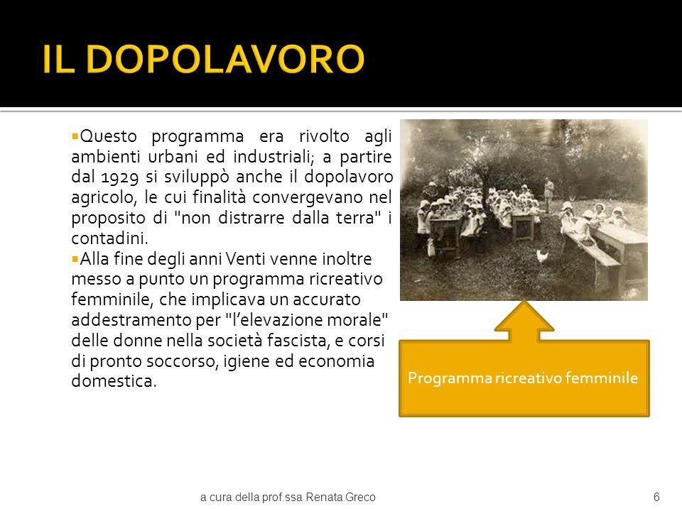 Nel 1935 la nazionalizzazione del dopolavoro era tale da permettere una rapida mobilitazione del popolo per la guerra in Etiopia.