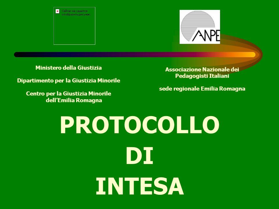 PROTOCOLLO DI INTESA Ministero della Giustizia Dipartimento per la Giustizia Minorile Centro per la Giustizia Minorile dellEmilia Romagna Associazione
