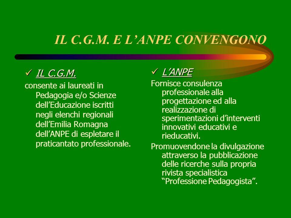 IL C.G.M. E LANPE CONVENGONO IL C.G.M. IL C.G.M. consente ai laureati in Pedagogia e/o Scienze dellEducazione iscritti negli elenchi regionali dellEmi