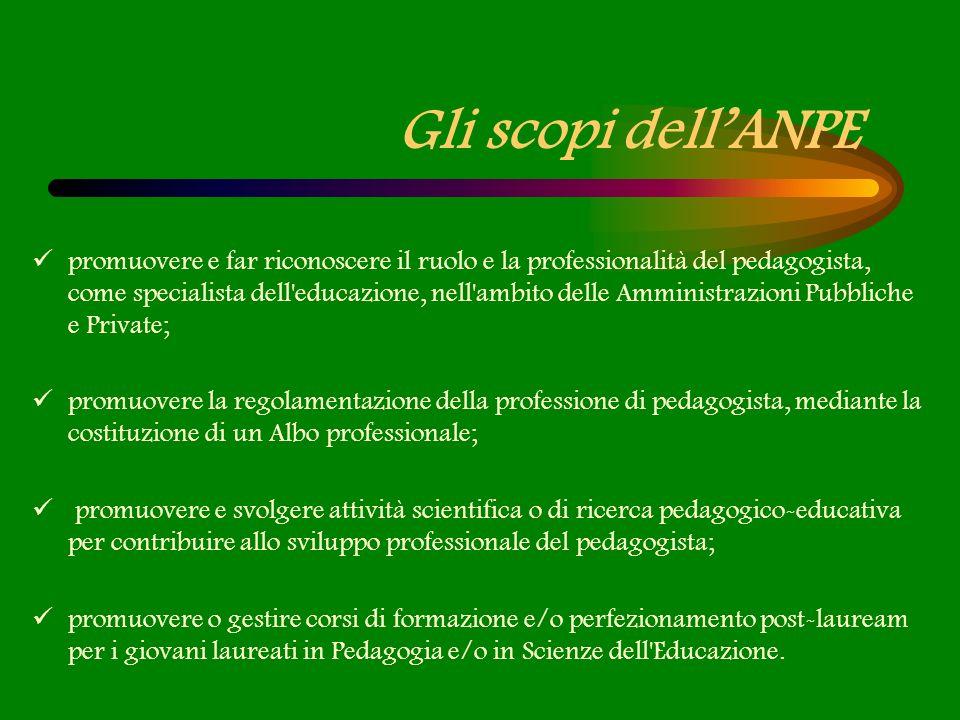 Gli scopi dellANPE promuovere e far riconoscere il ruolo e la professionalità del pedagogista, come specialista dell'educazione, nell'ambito delle Amm