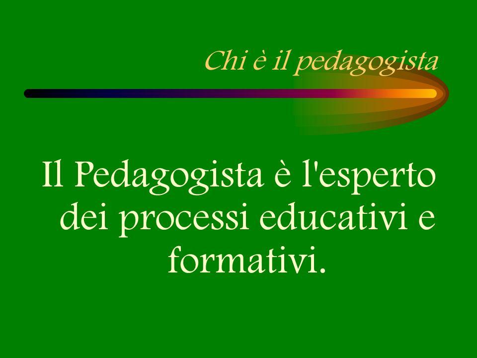 Chi è il pedagogista Il Pedagogista è l'esperto dei processi educativi e formativi.