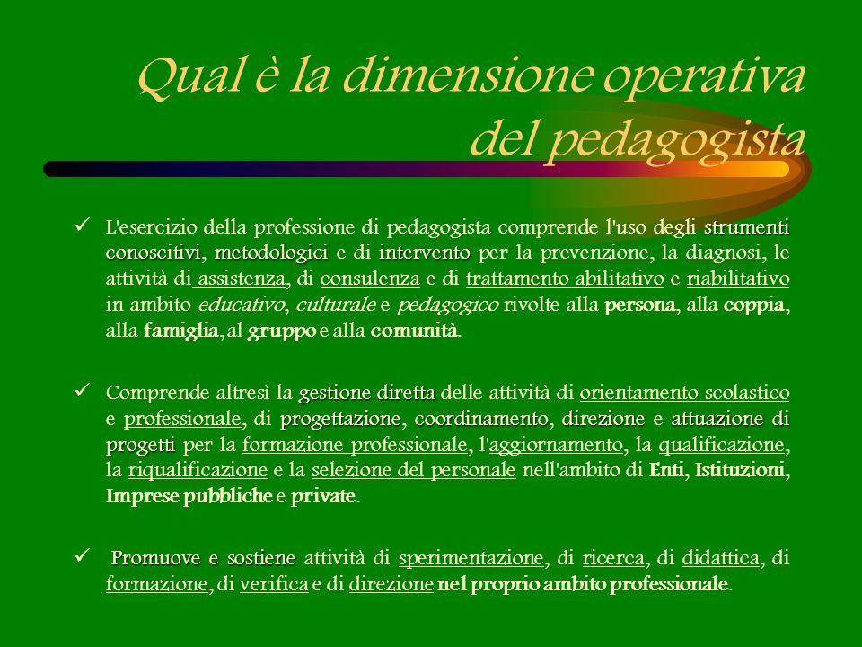 Qual è la dimensione operativa del pedagogista strumenti conoscitivimetodologici intervento L'esercizio della professione di pedagogista comprende l'u