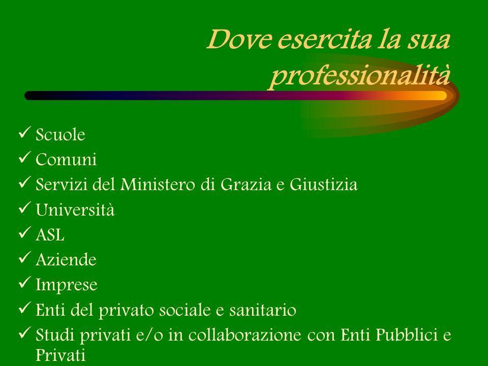 Dove esercita la sua professionalità Scuole Comuni Servizi del Ministero di Grazia e Giustizia Università ASL Aziende Imprese Enti del privato sociale