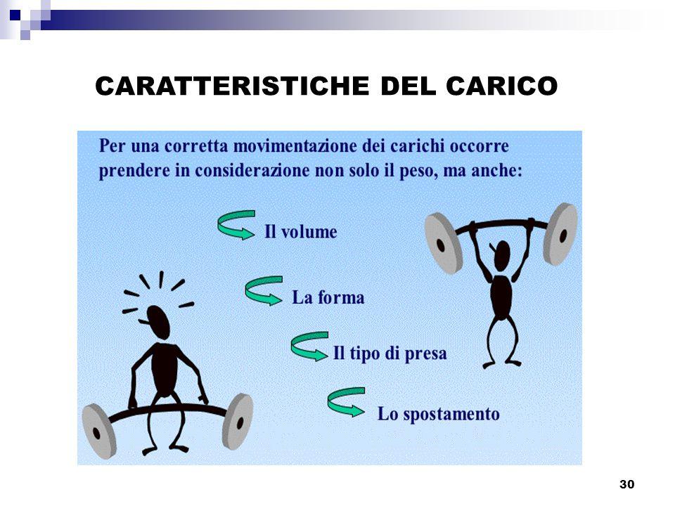 30 CARATTERISTICHE DEL CARICO