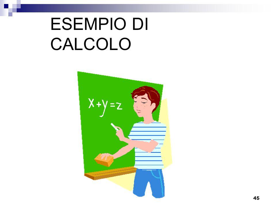 45 ESEMPIO DI CALCOLO
