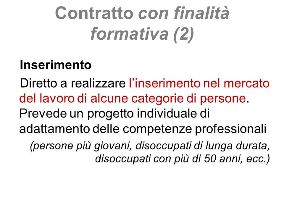 Contratto con finalità formativa (2) Inserimento Diretto a realizzare linserimento nel mercato del lavoro di alcune categorie di persone. Prevede un p