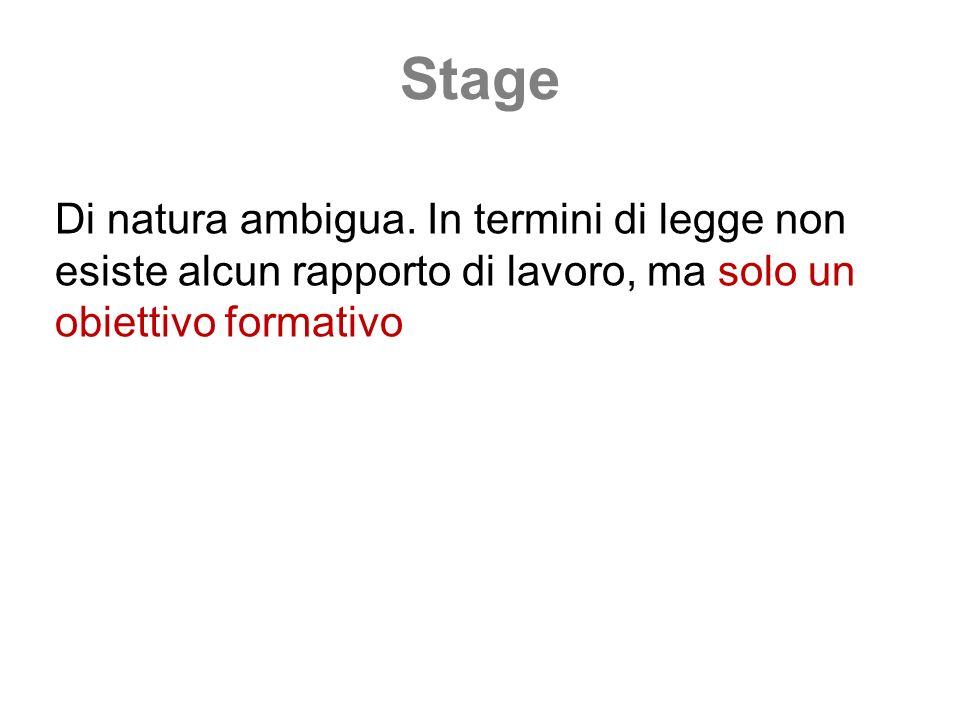 Stage Di natura ambigua. In termini di legge non esiste alcun rapporto di lavoro, ma solo un obiettivo formativo