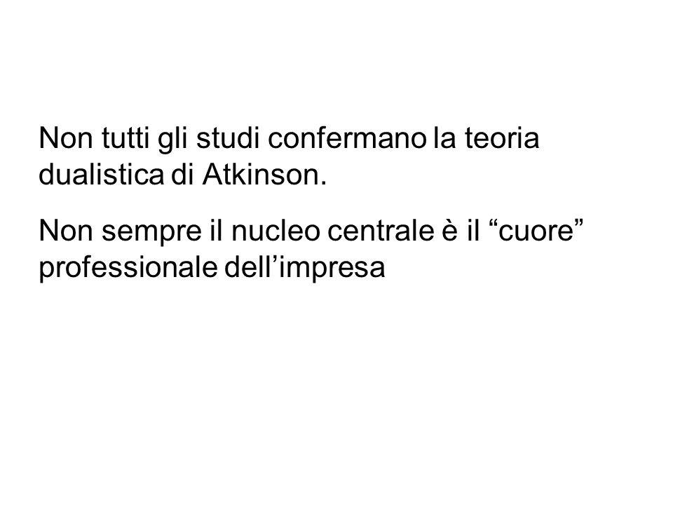 Non tutti gli studi confermano la teoria dualistica di Atkinson. Non sempre il nucleo centrale è il cuore professionale dellimpresa