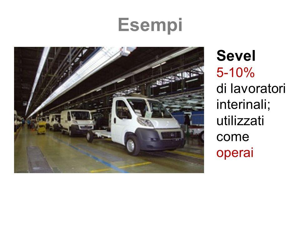 Esempi Sevel 5-10% di lavoratori interinali; utilizzati come operai