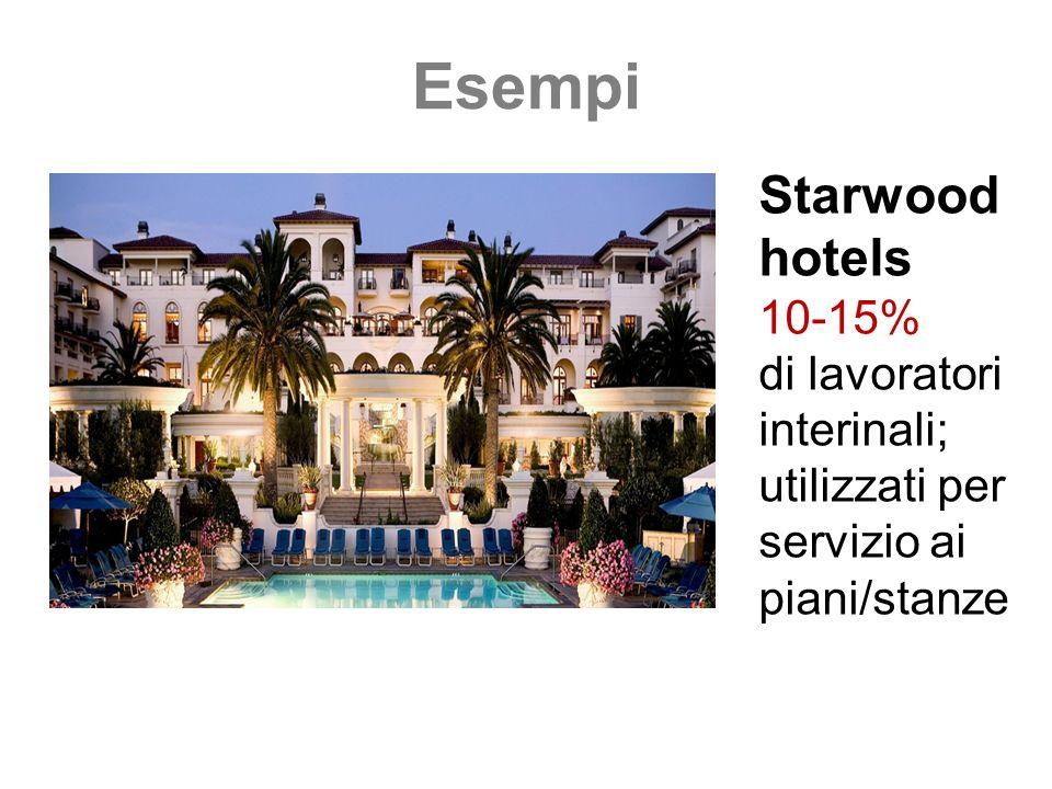 Esempi Starwood hotels 10-15% di lavoratori interinali; utilizzati per servizio ai piani/stanze