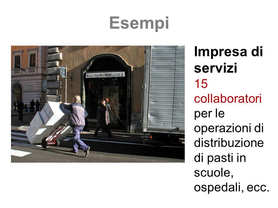 Esempi Impresa di servizi 15 collaboratori per le operazioni di distribuzione di pasti in scuole, ospedali, ecc.