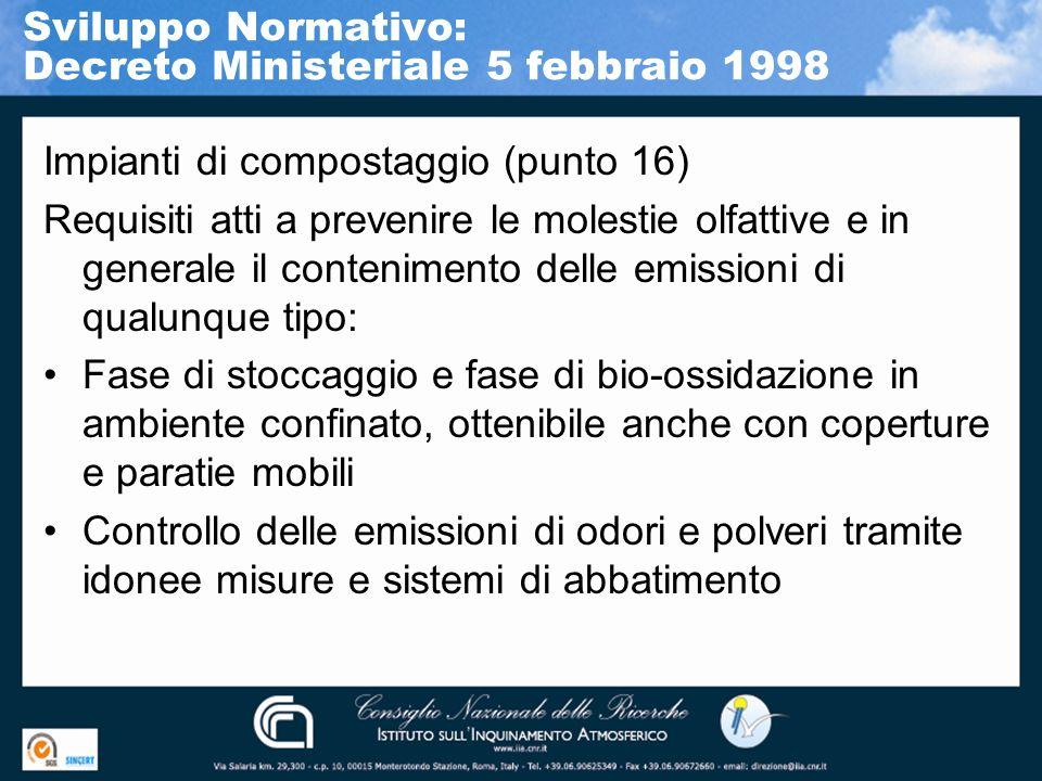 Impianti di compostaggio (punto 16) Requisiti atti a prevenire le molestie olfattive e in generale il contenimento delle emissioni di qualunque tipo: